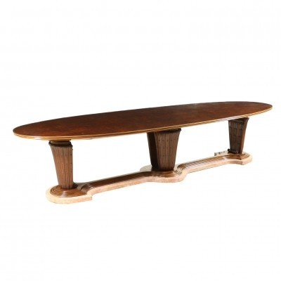 Large Table with Marble Base & Walnut, 1940s