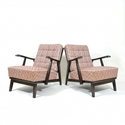 Pair of unique Art Deco armchairs by Krasna Jizba, 1940s