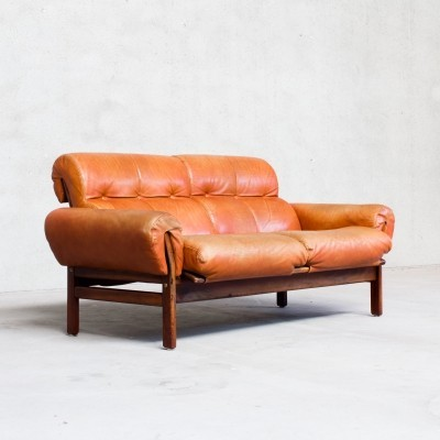 Rosewood & leather sofa by Coja, Sweden