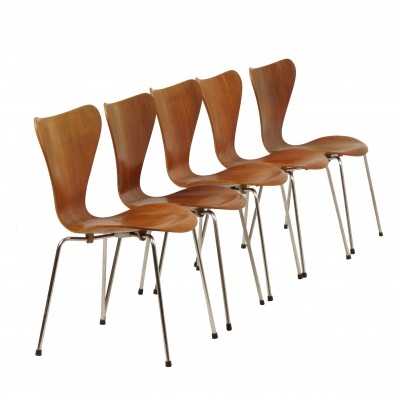Teak Dining Chairs Butterfly by Arne Jacobsen for Fritz Hansen, 1950s