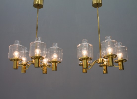 Pair of Brass & Glass Chandeliers by Hans-Agne Jakobsson for AB Markaryd Sweden