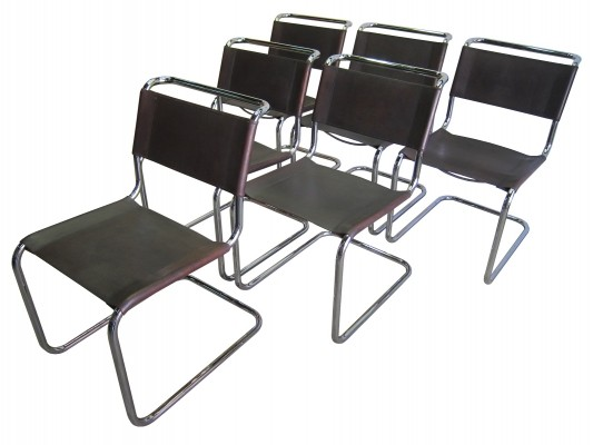 Set of 6 vintage Thonet S33 leather dining chairs by Mart Stam