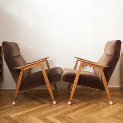 Pair of arm chairs by J. Šmidek for Interier Praha, 1960s