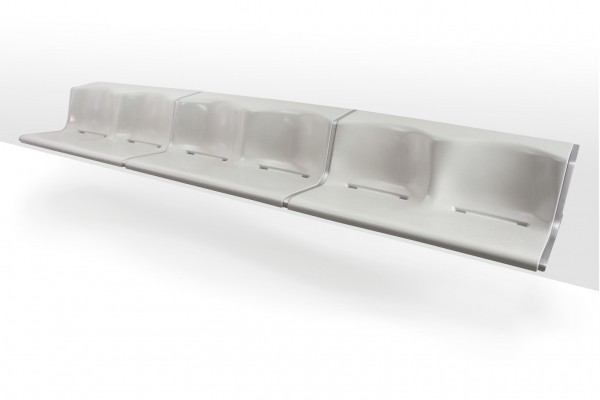 Model 1200 bench in grey fibreglass by Friso Kramer for Wilkhahn, 1967