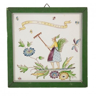 Decorated 'harvest' tile by Gio Ponti, 1950s