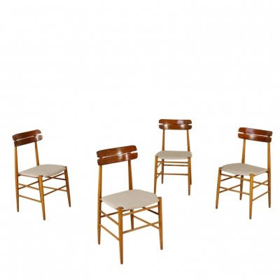 Set of Four Chairs in Teak with Fabric Upholstery, 1960s
