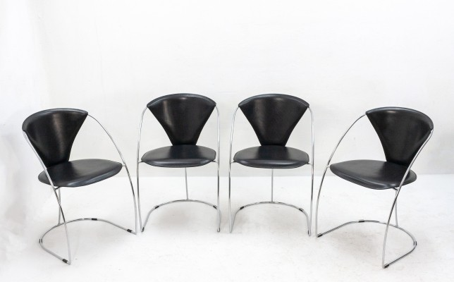 Set of 4 Arrben Italy dining chairs, 1980s