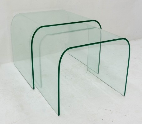 Pair of Fiam Italy nesting tables, 1980s