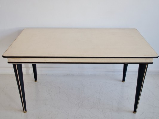 Umberto Mascagni Cream-Colored Faux Leather Covered Dining Table