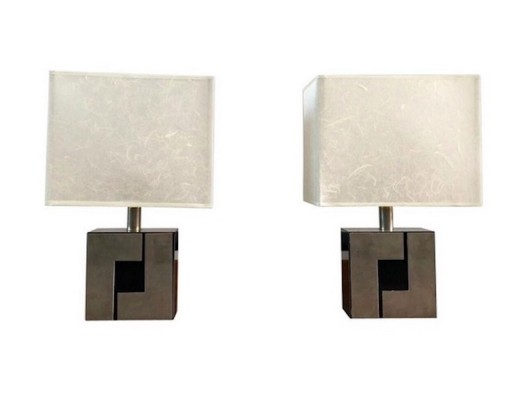 Pair of French Table Lamps with Geometric Base