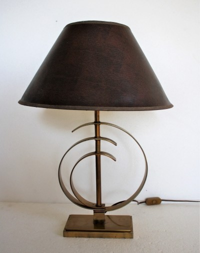 Vintage brass elliptical table lamp, 1970