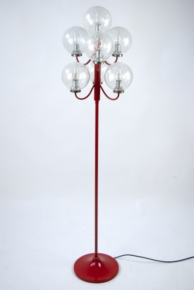 Vintage Red Floor Lamp by Kaiser Leuchten from 1960s with 7 Glass Balls