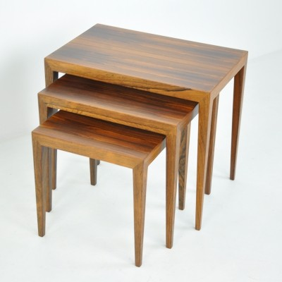 Nesting Tables in Rosewood by Severin Hansen for Haslev, 1950s