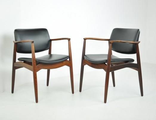 Pair of 'Captain' Armchairs in Rosewood by Erik Buch for Örum, 1960s