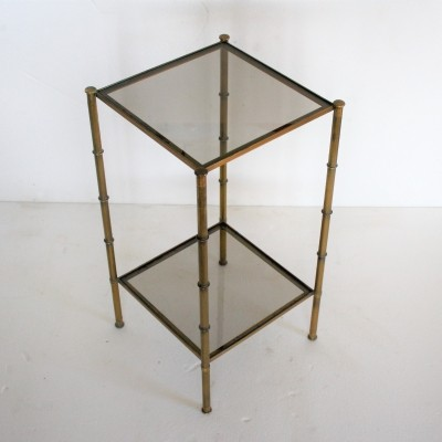 Bronze faux bamboo side table by Maison Bagues, 1950s