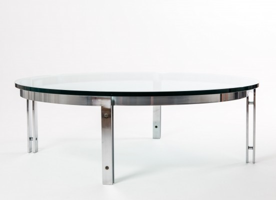 Metaform round steel glass table, Netherlands 1970s