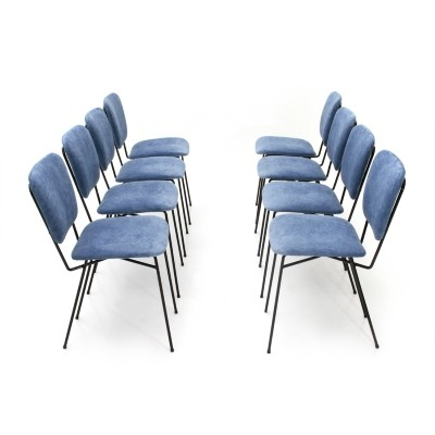 Set of 8 mid century Italian blue velvet chairs by Doro Cuneo, 1960s