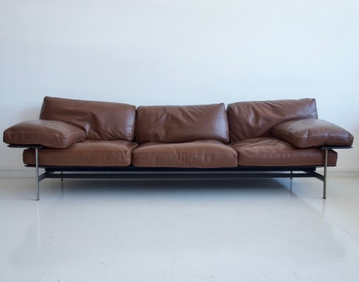 Antonio Citterio & Paolo Nava Brown Leather Sofa