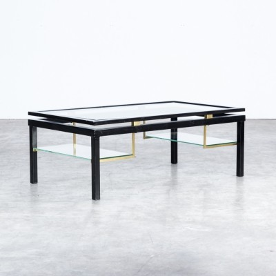 80s Coffee table in metal, glass & brass