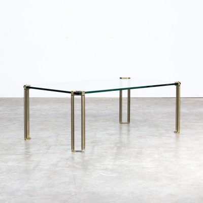 Peter Ghyczy coffee table in glass & brass, 1970s