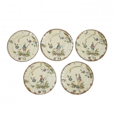 Decorated dishes by Gio Ponti for Richard Ginori, 1940s