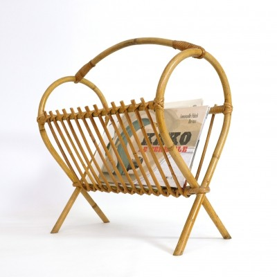 Magazine rack in rattan, 1960's