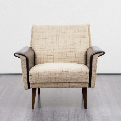 Pair of 1960s armchairs with leather armrests