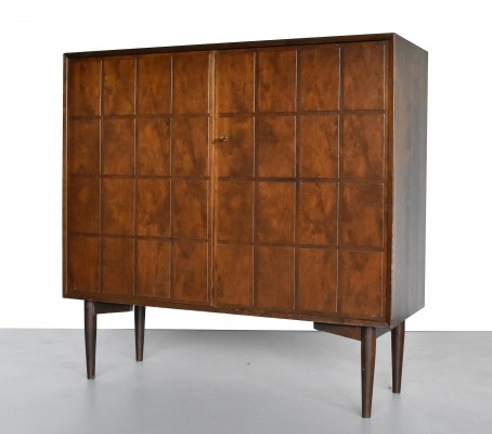 Stained Birch Brutalist Cabinet, 1950s
