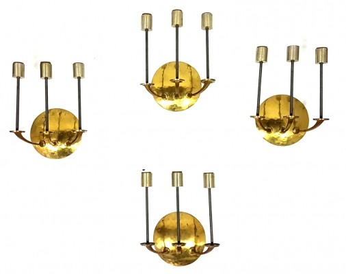 Custom made brass wall sconces, Germany 1950s