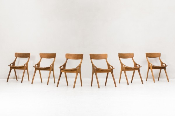 Set of 6 dinner chairs by Arne Hovmand Olsen for Mogens Kold, 1950s