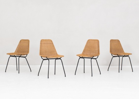 Set of 4 'model Italia 100' dining chairs by Rotanhuis, the Netherlands 1950s