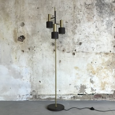 Mid-Century Floor Lamp with Three Pivoting Heads by Koch & Lowy for OMI, 1960s