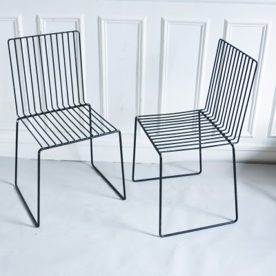 Pair of Serie Fil dinner chairs by François Arnal for Atelier A, 1970s