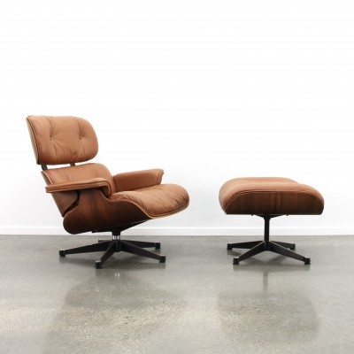 Cognac leather/rio palissander Eames lounge chair + ottoman by Vitra, 1980s