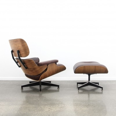 Darkred Leather/rio Palisander Eames lounge chair + ottoman by Herman Miller