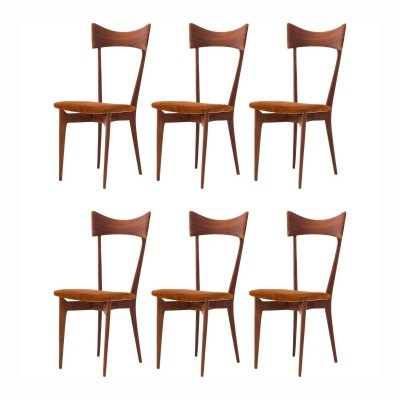Six Italian Dining Chairs in Natural Leather & Mahogany by Ico Parisi, 1950s