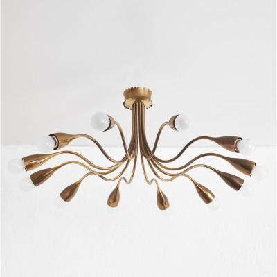 Brass spider ceiling lamp, 1950s