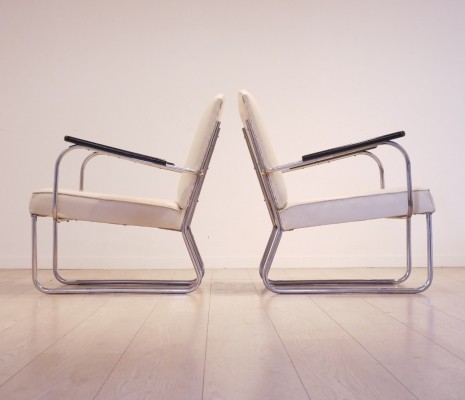 Jan Schroefer Tubular Easy Chairs for Cirkel, 1935
