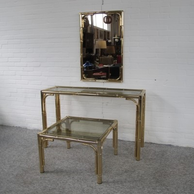 Bamboo brass Cocktail Table side table & mirror 70s