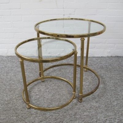 Set of 2 Midcentury Brass Nesting Tables with Glass Top