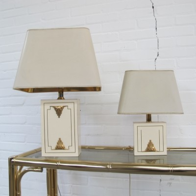 Pair of Hollywood regency style table lamp in brass, 1970s