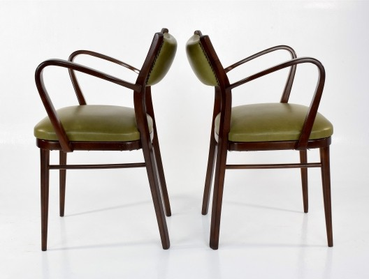 Pair of Italian Art Deco Leather Armchairs, 1940s