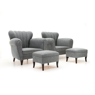 Pair of Italian mid century gray armchairs with pouf, 1950s