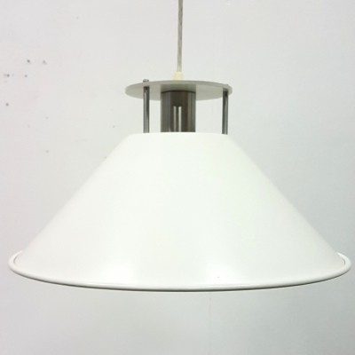 Set of 2 white metal pendant lamps by Nordisk Solar, Denmark 1980s