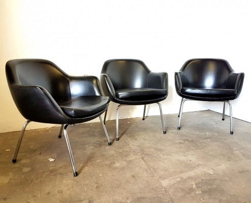 Set of 3 vinyl cocktail chairs, Germany 1960s