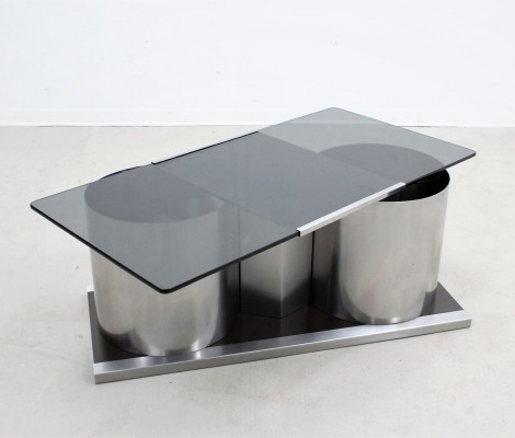 Vintage italian design glass cocktail coffee table by Acerbis