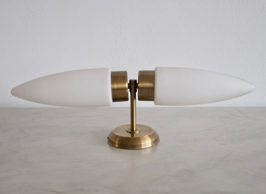Brass & Opaline Glass Wall Lamp with Two Lights