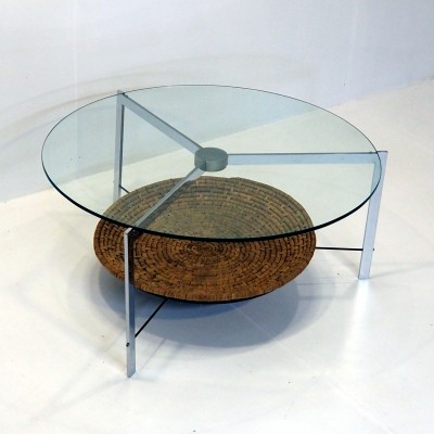 Coffee table with slim chrome structure, 1970s