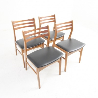 Four Danish midcentury dining chairs with skai on seats