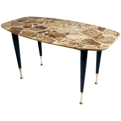 Mid-Century Italian Coffee Table in Onyx & Brass